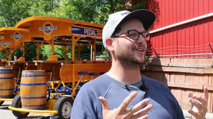pedal pub owner David Skabar speaks to media