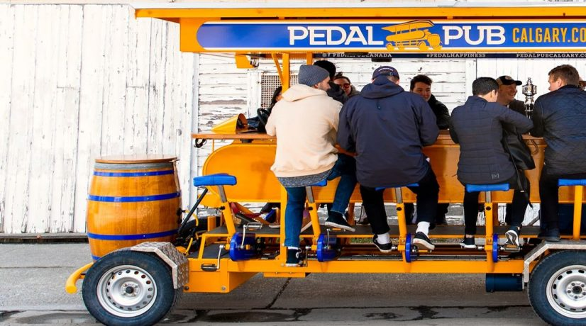 Patrons drink on Dutch party bike in Calgary