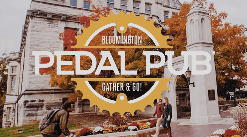 bloomington pedal pub logo with town