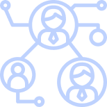 three people networking illustration