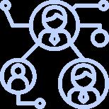 three people networking illustration