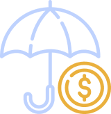 umbrella covering money illustration