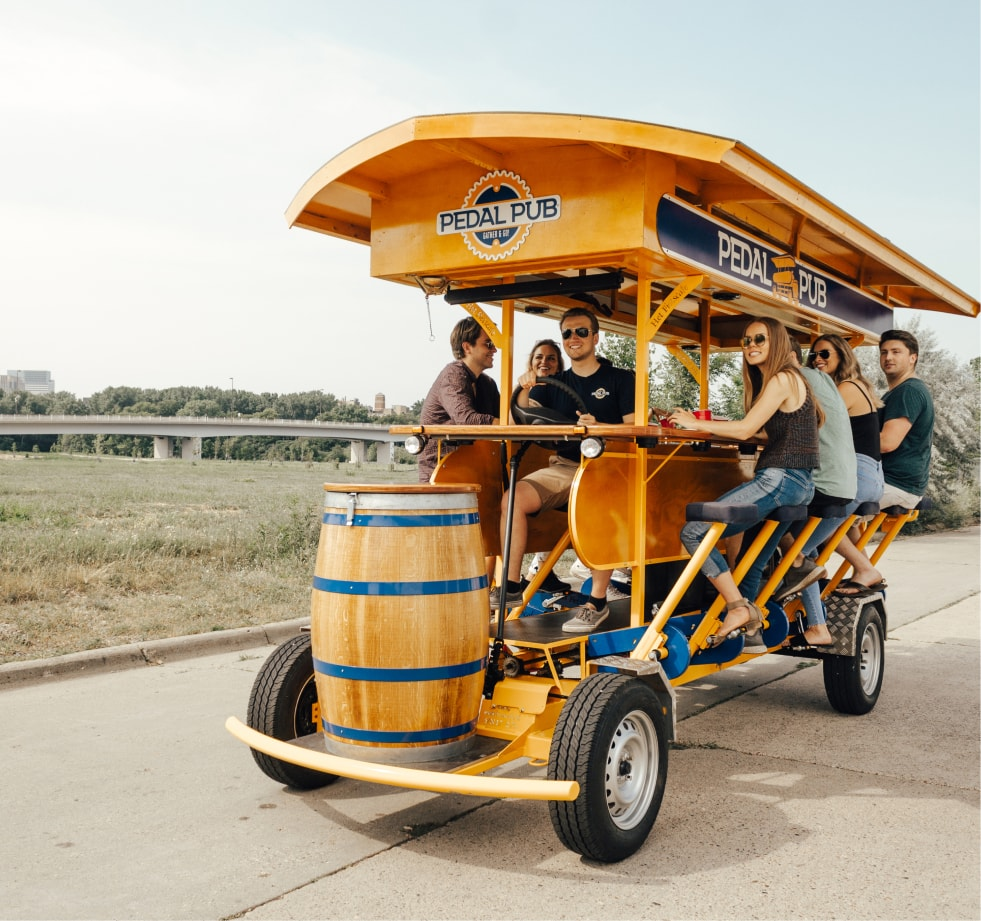 pedal pub bike driver with guests