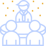 three people in a meeting illustration