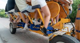 zoom in shot of guests legs pedaling