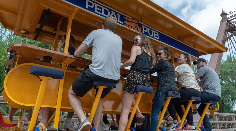 parked pedal pub bike